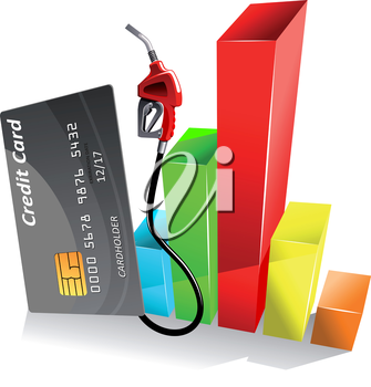 Credit card with gas pump nozzle near of colorful bar chart of decreasing gasoline price. For gas and oil industry theme