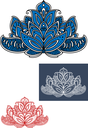 Blue  and white indian paisley flower adorned by carved ornament with traditional flourishes and curls. Isolated on white