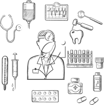 Doctor therapist in sketch style with medical icons as tubes, flasks, drugs and pills, syringe, dentistry, blood transfusion, ultrasound stethoscope. For healthcare and medicine design usage