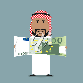 Successful wealthy arabian businessman in national white thobe and keffiyeh with one hundred euro bill in hands. Finance, success, wealth or abundance business concept