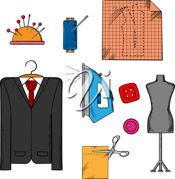 Tailor tools, cloth and accessories icons with man costume on a hanger, mannequin, cloth with scissors, iron and thread spool, needles and buttons