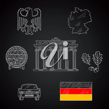 Germany national and travel chalk icons with map and flag, black eagle emblem and oak branches, wooden barrel of beer, car and Brandenburg gates on blackboard