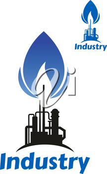 Oil and gas processing factory icon with black silhouette of pipeline and chimney with blue flame of associated gas and caption Industry below