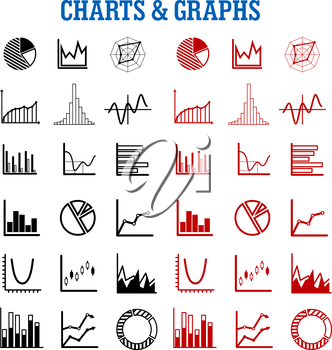 Black and red charts or graphs icons for business or infographic themes