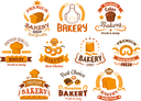 Bakery shop icons and signboards with toast and long loaf bread, sweet buns, cake and bagels, flour bag, baker hat and apron. Decorated by wheat ears, ribbon banners and crowns, cereal elements and st