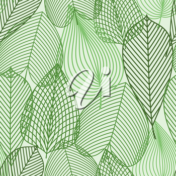 Outline silhouettes of spring green leaves seamless pattern. For nature, background or wallpaper design with birch, chestnut and elm leaves