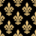 Golden heraldic lily flowers seamless pattern for classic wallpaper or interior textile accessories design with vintage fleur-de-lis ornament on black background