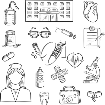 Medical sketched icons of hospital building, doctor and first aid kit, glasses and microscope, medicine bottles and blood bag heart, syringe and DNA, plaster and clipboard, pen and tooth