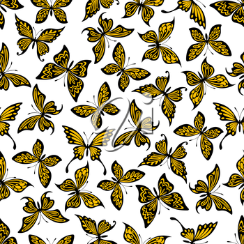 Decorative seamless flying butterflies background with pattern of yellow and black butterflies with openwork ornamental wings. Great for textile or scrapbook page backdrop design