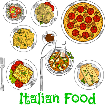 Italian vegetarian pizza icon served with spaghetti, seafood risotto and agnolotti ravioli, hot sandwich with fresh vegetables, stuffed cannelloni pasta with bolognese sauce, butter beans and cup of c