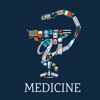 Medicine and pharmacy symbol with bowl of hygeia silhouette composed of flat icons of medicines, stethoscope and blood bags, dentist instruments and teeth with braces, x rays, blood pressure and ecg m