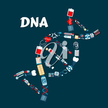DNA or deoxyribonucleic acid formed of healthcare or medicine icons. Radiograph or roentgenogram, syringe and heart with pulse or cardiogram, sphygmomanometer and molecule, blood pack and dental impla