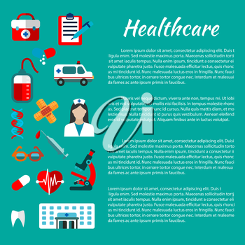 Healthcare and hospital poster design template with flat icons of doctor, ambulance, aid kit, hospital building, blood bag, heart, tooth, microscope, capsules, syringe, DNA helices, plaster glasses
