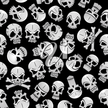 Skeleton skulls seamless background. Wallpaper with vector pattern of craniums and crossbones
