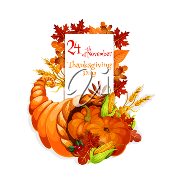 Thanksgiving Day cornucopia design for celebration greeting and invitation card, banner for thanksgiving traditional family dinner. Cornucopia harvest abundance background