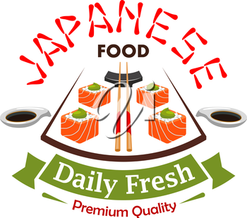 Japanese daily fresh food vector label emblem. Salmon sushi rolls, bamboo chopsticks, soy sauce elements. Vector design for menu card, restaurant sticker, poster