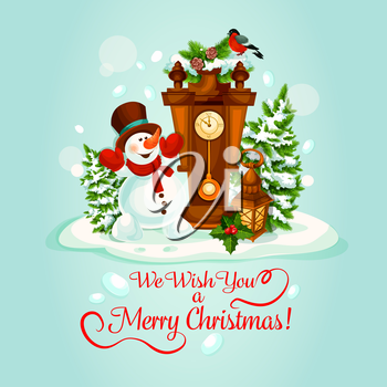 Christmas Day holiday poster with snowman, clock and candle lantern, adorned by holly and fir tree branches. Snowman is celebrating Christmas in a snowy winter forest for greeting card design