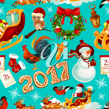 New Year and Christmas holidays seamless pattern. Santa with gift in reindeer sleigh, snowman, pine and holly wreath with ribbon, star, glove, snowflake, gingerbread number 2017, rooster, calendar