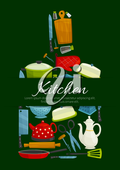 Cutting board with kitchen utensils poster. Cooking pot, knife, frying pan, spatula, grater, rolling pin, teapot, scissors, kettle, corkscrew, oven glove, salt and pepper shaker. Kitchen theme design