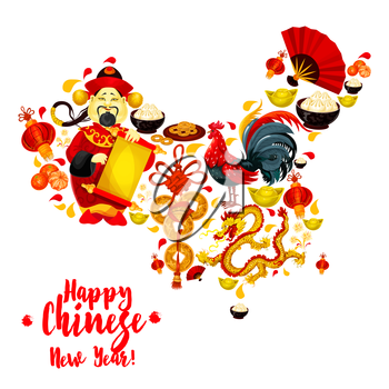 Map of China made up of Chinese New Year symbols. Rooster, lantern, golden dragon, fortune coin, god of wealth, mandarin fruit, gold ingot, festive food and folding fan. Chinese New Year theme design