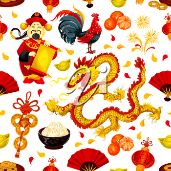 Chinese New Year of Rooster seamless pattern of zodiac cock, red lantern, fortune coin, dragon, mandarin orange, god of wealth with scroll, gold ingot, festive food, firework. Spring Festival design