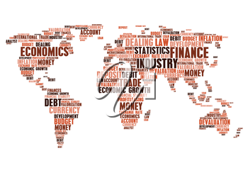 Industry, economics and business cloud tags words. Vector world map of finance currency market, money devaluation exchange rate, budget debit inflation, financial development, trade industry growth, d