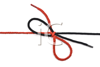 Royalty Free Photo of a Black and Red Shoelace With Bow
