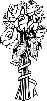 Royalty Free Clipart Image of a Bouquet of Flowers