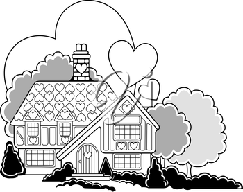 Royalty Free Clipart Image of a House With Hearts Behind and Above It