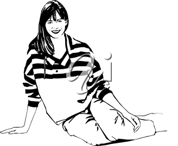 Royalty Free Clipart Image of a Woman in a Striped Top