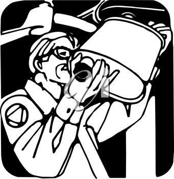 Royalty Free Clipart Image of a Man Installing a Muffler
