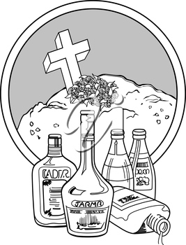 Royalty Free Clipart Image of Bottles and a Grave