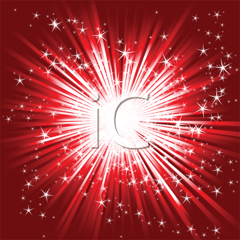 Royalty Free Clipart Image of a Burst on Red