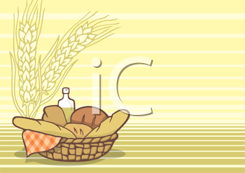 Royalty Free Clipart Image of a Basket of Breads