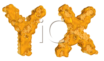 Royalty Free Clipart Image of the Letters Y and X in Honey