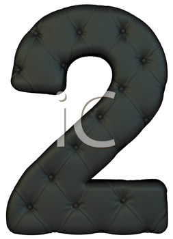 Royalty Free Clipart Image of a Black Leather Number Two