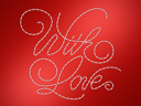 Royalty Free Clipart Image of With Love Stitched on Red Material
