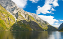 Norwegian Fjord: Mountains and blue cloudy sky