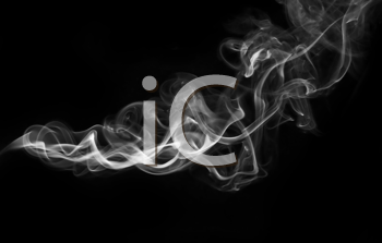 White Abstract fume shape over the black background