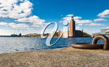 Stockholm quayside and city hall in summer