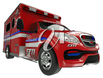 Ambulance: wide angle view of emergency services vehicle on white. Custom made and rendered