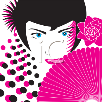 Royalty Free Clipart Image of a Woman With a Flower and a Fan