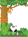 Royalty Free Clipart Image of a Nature Border With Wild Animals