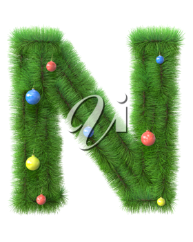 N letter made of christmas tree branches isolated on white background