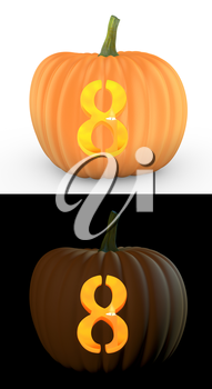 Number 8 carved on pumpkin jack lantern isolated on and white background