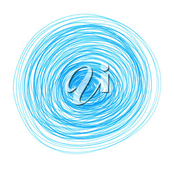 Abstract blue drawn round element for design on white background