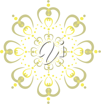 Royalty Free Clipart Image of a Green and Yellow Design