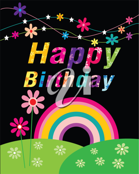 Royalty Free Clipart Image Of A Happy Birthday Greeting With A Rainbow And Flowers 561370 Iphotos Com