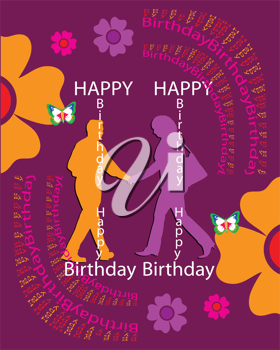 Royalty Free Clipart Image of a Happy Birthday Greeting With Two People in the Centre and Flowers