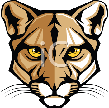 Royalty Free Clipart Image of a Cougar Mascot